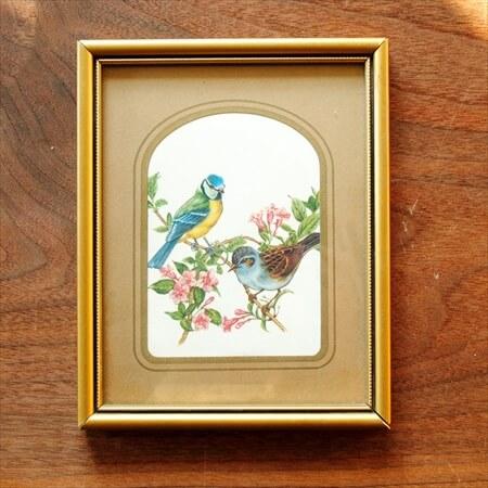 ドイツ買い付け 鳥のイラストの額装 17.8x14.2cm フォトフレーム アートピース 額縁 ヴィンテージ アンティーク