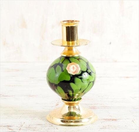 スウェーデン製 ガラス キャンドルスタンド ロウソク立て 燭台 グラス アンティーク ヴィンテージ