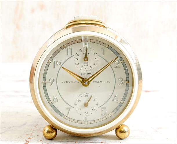 ドイツ製 ヴィンテージ Junghans Trivox-silentic 手巻き 目覚まし時計 ユンハンス ゼンマイ式 アンティーク時計 アナログ おしゃれ