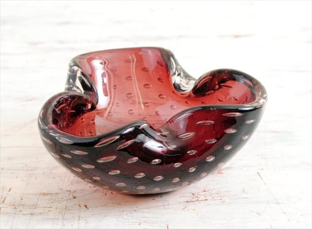 イタリア製 ムラーノグラス 灰皿 ムラノグラス ガラス アッシュトレイ パープル 紫