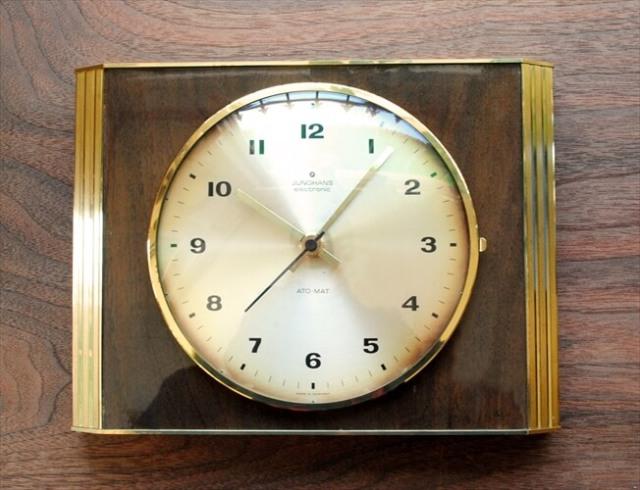 ドイツ製 JUNGHANS 木製x真鍮フレーム 壁時計 電池式 ユンハンス ヴィンテージ 壁掛け時計 アンティーク