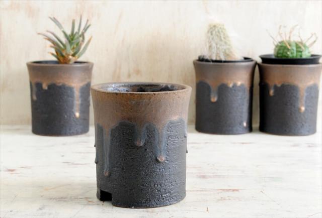 新品 信楽焼 寸胴鉢 金彩 3号 陶器鉢 植木鉢 おしゃれ サボテン 塊根植物 コーデックス アガベ 多肉植物に