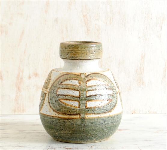 デンマーク製 SOHOLM ハンドメイド 陶器の花瓶 北欧雑貨 北欧花器 スーホルム 一輪挿し フラワーベース アンティーク
