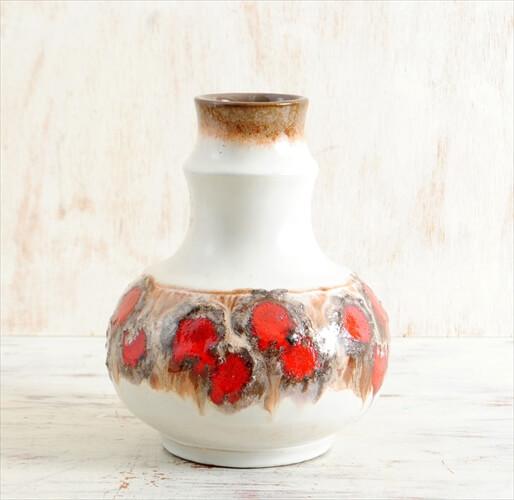 東ドイツ製 ヴィンテージ Strehla 陶器の花瓶 Fat lava 花器 一輪挿し ミッドセンチュリー期 フラワーベース アンティーク