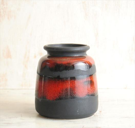 西ドイツ製 ヴィンテージ Art Pottery 陶器の花瓶 Fat Lava 花器 一輪挿し ミッドセンチュリー期 フラワーベース アンティーク