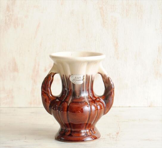 西ドイツ製 ヴィンテージ S&G Keramik 陶器の花瓶 Fat Lava 花器 一輪挿し ミッドセンチュリー期 フラワーベース アンティーク