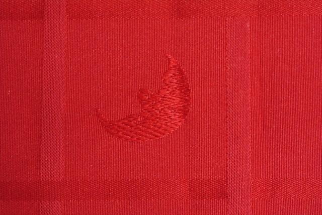 ベルギー買い付け 月の刺繍柄ファブリック 巾40cm レッド バーガンディ 生地 テキスタイル