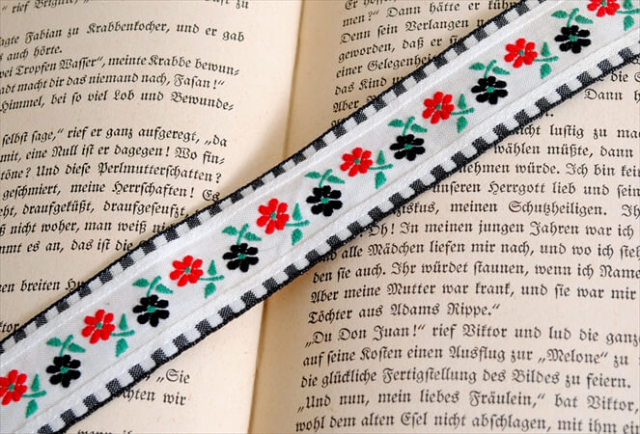 ベルギー買付 ヴィンテージ 花柄刺繍トリム 巾2.5cm / 50cm単位 ブレード リボン アンティーク