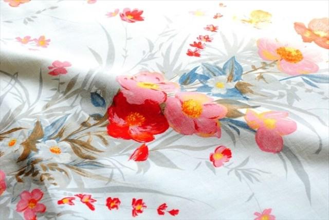 フランス JEAN CHAUSSAVOINE ヴィンテージ 花柄 ファブリック 162 x 129cm 生地 はぎれ テキスタイル