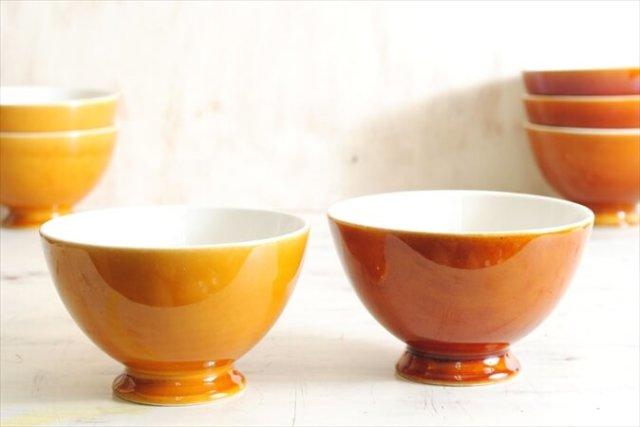 ベルギー製 BOCH ボッホ カフェオレボウル 飴色 ブラウン キャメル 磁器 陶器 アンティーク ヴィンテージ 食器