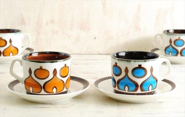 ベルギー製 BOCH ボッホ レアパターン コーヒーカップ&ソーサー アンティーク ヴィンテージ 食器