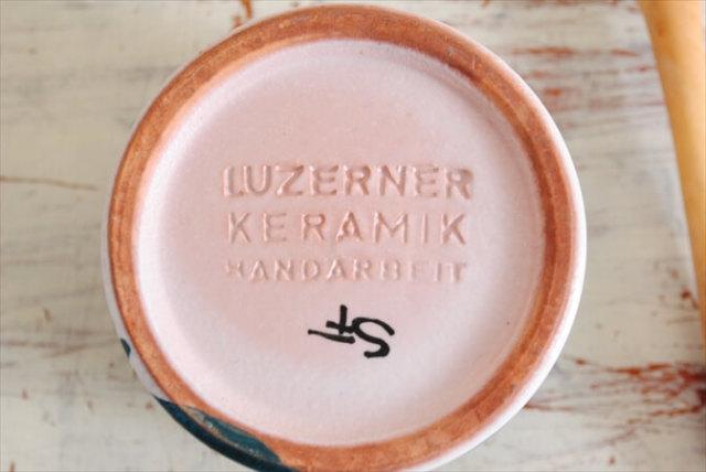 スイス製 LUZERNER KERAMIX ハンドペイント シュガーポット フタ スプーン付き ヴィンテージ アンティーク