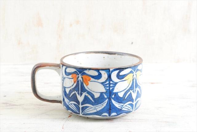 デンマーク買い付け きれいな絵付けの陶器 スープカップ マグカップ 北欧食器 ヴィンテージ アンティーク