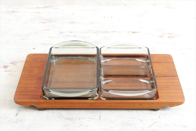 デンマーク製 Wiggers チーク材 トレーとガラスディッシュ3枚セット 北欧食器 無垢材 トレイ ガラス皿 ヴィンテージ アンティーク
