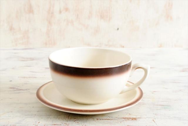 ベルギー製 BOCH ボッホ ティーカップ&ソーサー ブラウン グラデーション 磁器 陶器 アンティーク