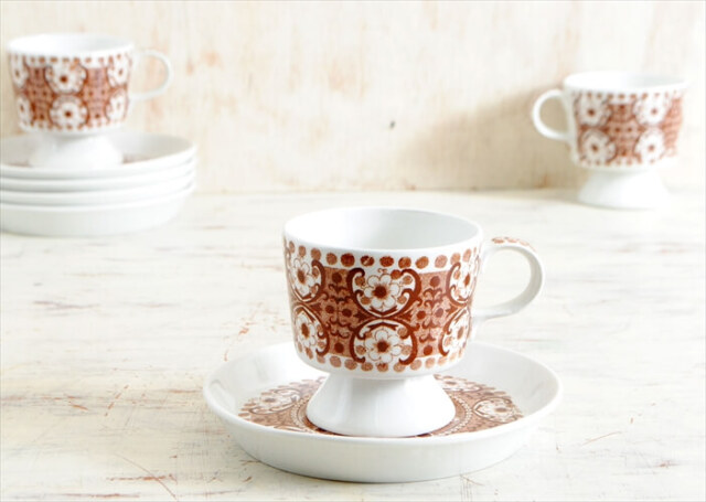 ARABIA アラビア ALI デミタスカップ&ソーサー アリ コーヒー 北欧食器 フィンランド 陶器 ヴィンテージ アンティーク
