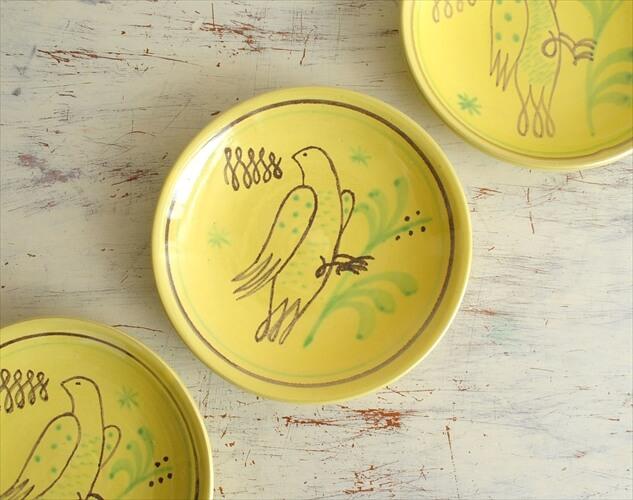 スウェーデン Nittsjo かわいい鳥の絵付けのプレート 13cm 北欧食器 お皿 磁器 北欧 ヴィンテージ アンティーク