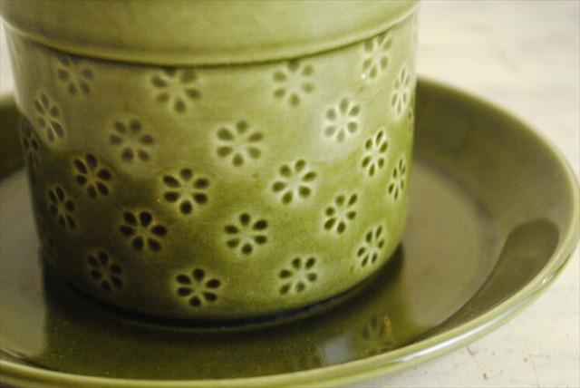 グスタフスベリ VERONIKA 小ぶりなカップ&ソーサー グリーン ヴェロニカ GUSTAVSBERG スウェーデン 北欧 アンティーク