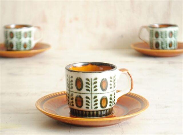 ベルギー製 BOCH ボッホ NOIX 小ぶりな デミタスカップ&ソーサー ノア ヴィンテージ 磁器 陶器 アンティーク