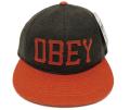 【SALE】 OBEY HANK ストラップバック フェルトワッペン CAP ブラウン/オレンジ