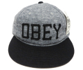 【SALE】 OBEY HANK ストラップバック フェルトワッペン CAP グレー/ブラック