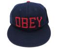 【SALE】 OBEY HANK ストラップバック フェルトワッペン CAP ネイビー