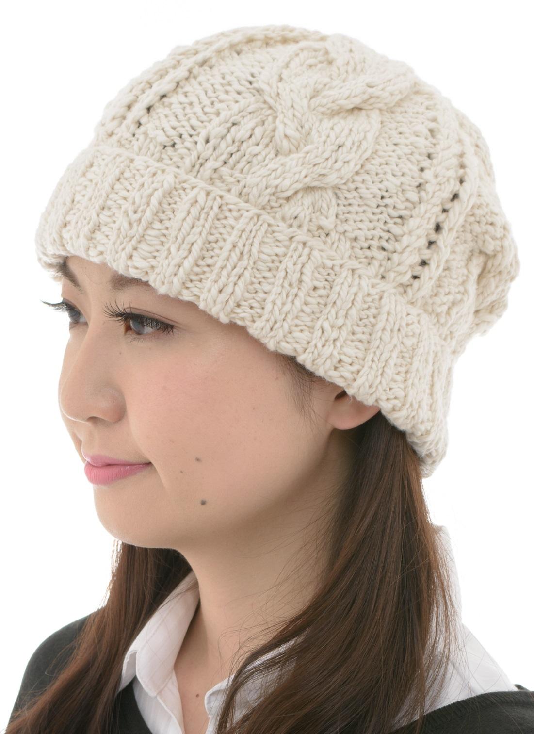ニット帽子 あったかシリーズ オーガニックコットン 無染色 縄編みニット帽子 NOC日本オーガニックコットン流通機構認定商品