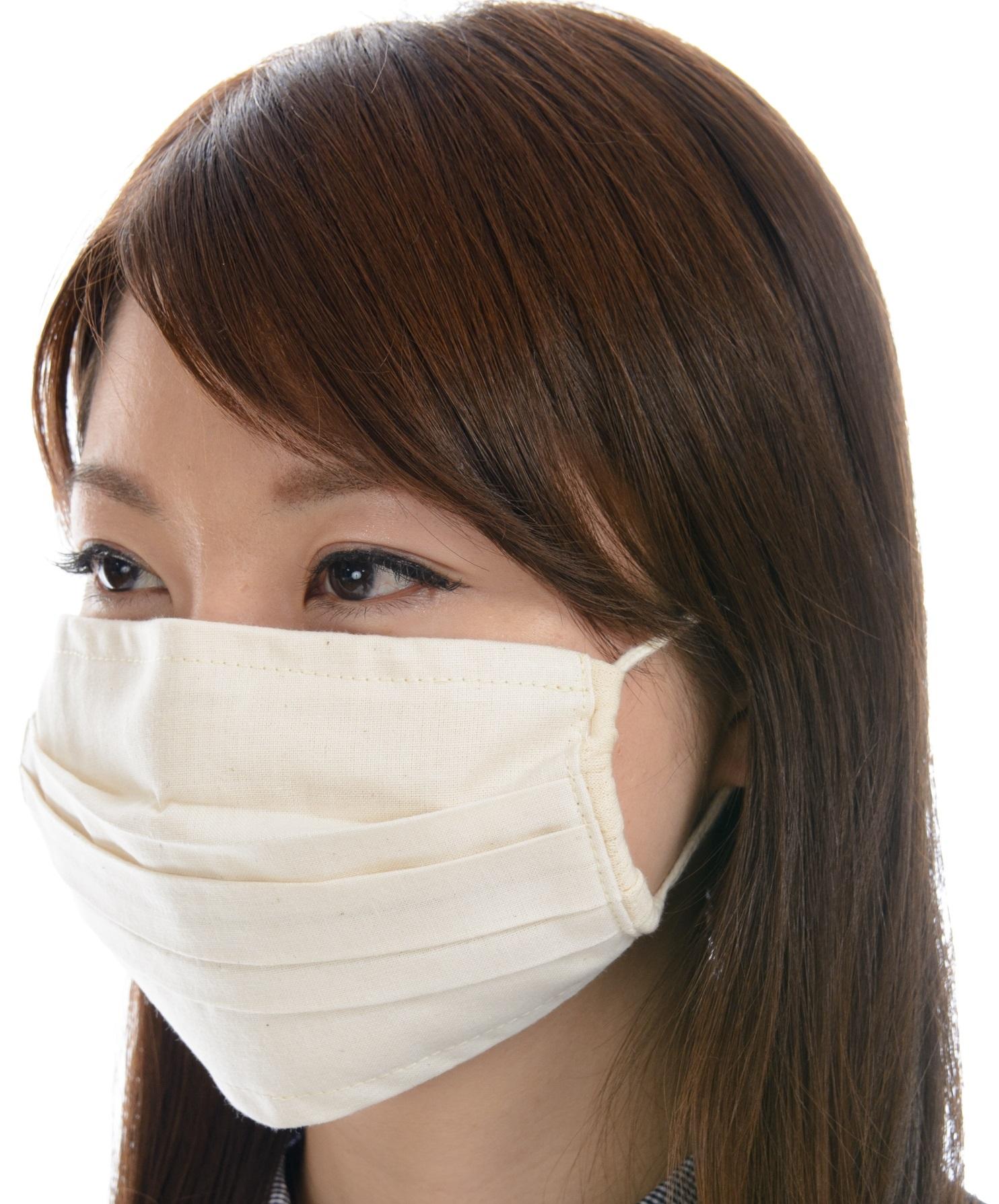 マスク 送料無料 オーガニックコットン 無染色 洗える立体形状のマスク 2色展開 NOC日本オーガニックコットン流通機構認定商品