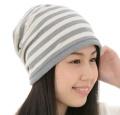 送料無料・室内用・ニット帽子/オーガニックコットン・リブ付きボーダーワッチ・2色展開 NOC(日本オーガニックコットン流通機構)認定商品 日本製