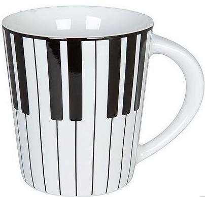 Piano ピアノマグカップ ※お取り寄せ商品 引き出物 記念品 音楽雑貨 音符 ピアノモチーフ ト音記号 ピアノ雑貨