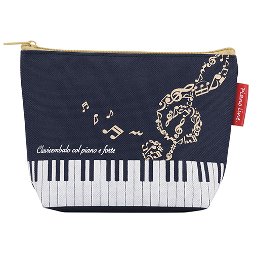 Piano line ハミング 舟形ポーチ ※お取り寄せ商品 引き出物 記念品 音楽雑貨 音符 ピアノモチーフ ト音記号 ピアノ雑貨