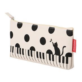 Piano line マチありペンケース (ねこと水玉) ※お取り寄せ商品 引き出物 記念品 音楽雑貨 音符 ピアノモチーフ ト音記号 ピアノ雑貨