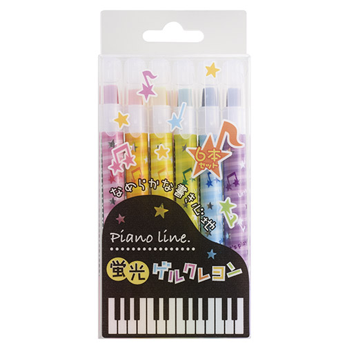 Piano line 蛍光ゲルクレヨン ※お取り寄せ商品 【音楽雑貨 音符・ピアノモチーフ】ト音記号 ピアノ雑貨c