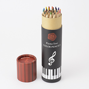 Piano line 色鉛筆24色 ※お取り寄せ商品 【音楽雑貨 音符・ピアノモチーフ】ト音記号 ピアノ雑貨c