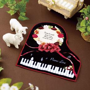 Piano line ハンドタオル ギフト ※お取り寄せ商品 引き出物 記念品  【音楽雑貨 音符・ピアノモチーフ】ト音記号 ピアノ雑貨c