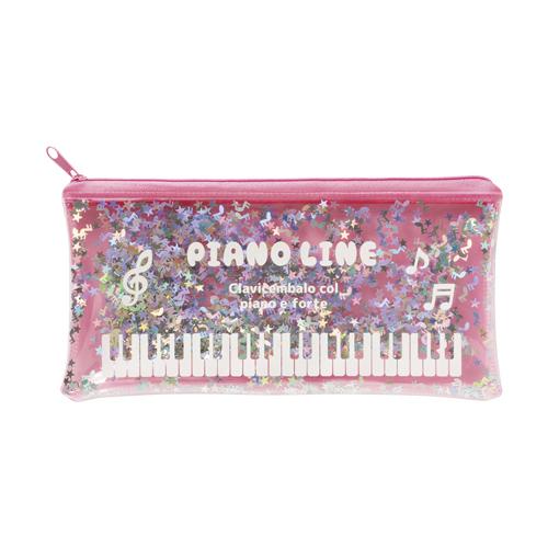 Piano line スパンコールペンケース ※お取り寄せ商品 引き出物 記念品 音楽雑貨 音符 ピアノモチーフ ト音記号 ピアノ雑貨