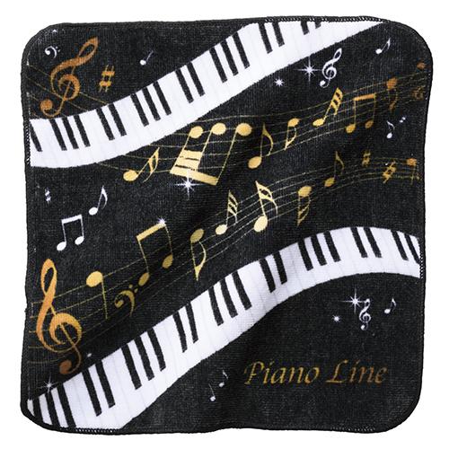 Piano line ハンドタオル音符 ※お取り寄せ商品 引き出物 記念品 音楽雑貨 音符 ピアノモチーフ ト音記号 ピアノ雑貨