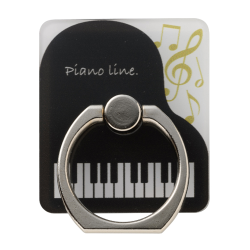 Piano line スマホリング ※お取り寄せ商品 引き出物 記念品 音楽雑貨 音符 ピアノモチーフ ト音記号 ピアノ雑貨