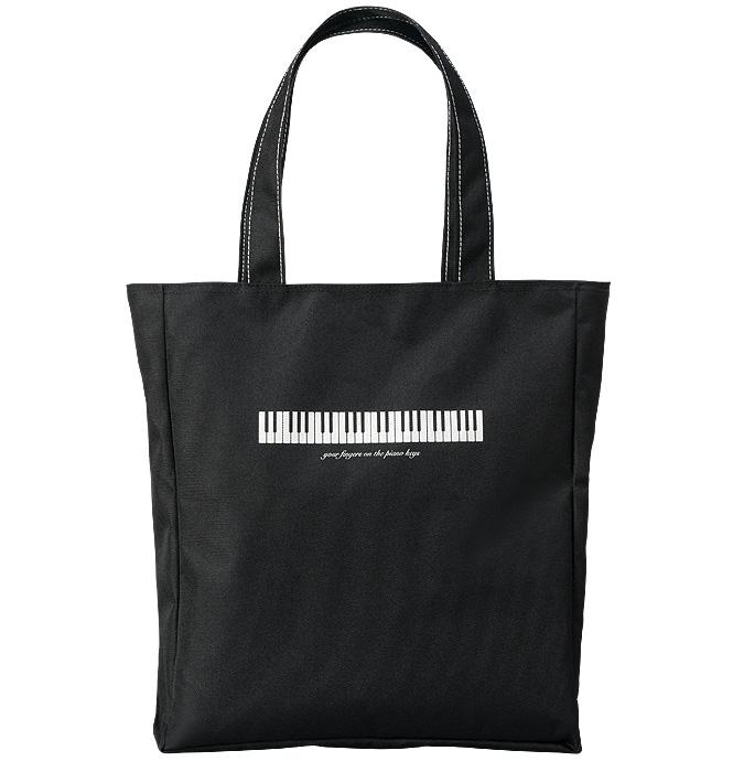 ミュージックレッスンバッグ ジップトップ 鍵盤/ブラック※お取り寄せ商品 【音楽雑貨 音符・ピアノモチーフ】ト音記号 ピアノ雑貨