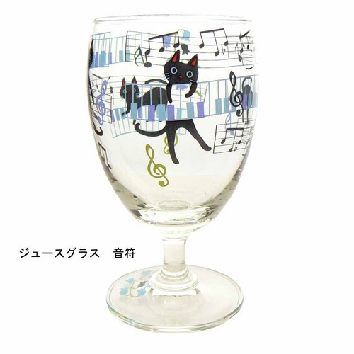 NEKOにゃ~ごジュースグラス 音符【音楽雑貨 ピアノ雑貨】 ♪この商品はお取り寄せ商品です♪音符 ピアノ 楽器