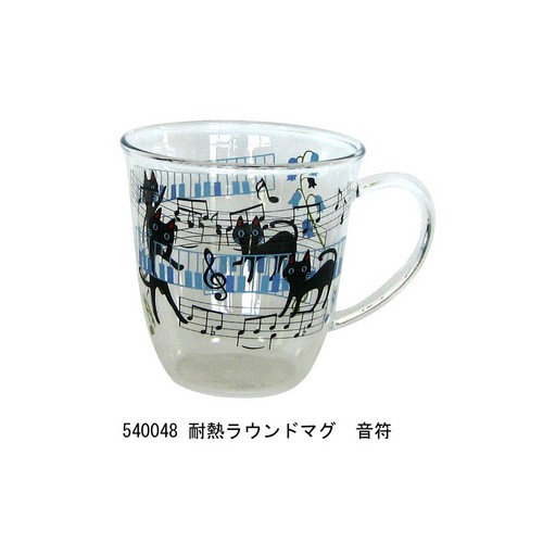 NEKOにゃ~ご 耐熱ラウンドマグ 音符♪【音楽雑貨 ピアノ雑貨】 この商品はお取り寄せ商品です♪音符 ピアノ 楽器 音楽雑貨 吉澤