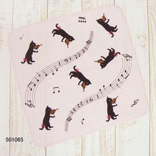 猫とヴァイオリン ディッシュクロス  ※お取り寄せ商品 【音楽雑貨 音符・ピアノモチーフ】