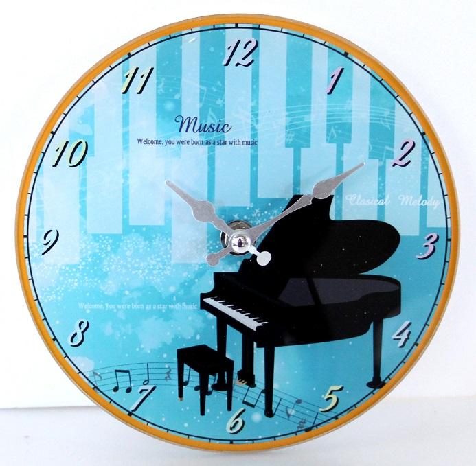 ミュージック柄壁掛け兼用スタンドクロック ※お取り寄せ商品 引き出物 記念品 音楽雑貨 音符 ピアノモチーフ ト音記号 ピアノ雑貨