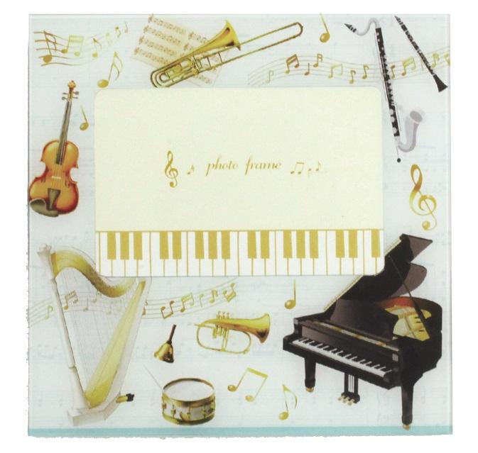 ミュージック柄 フォトフレーム ※お取り寄せ商品 引き出物 記念品 音楽雑貨 音符 ピアノモチーフ ト音記号 ピアノ雑貨