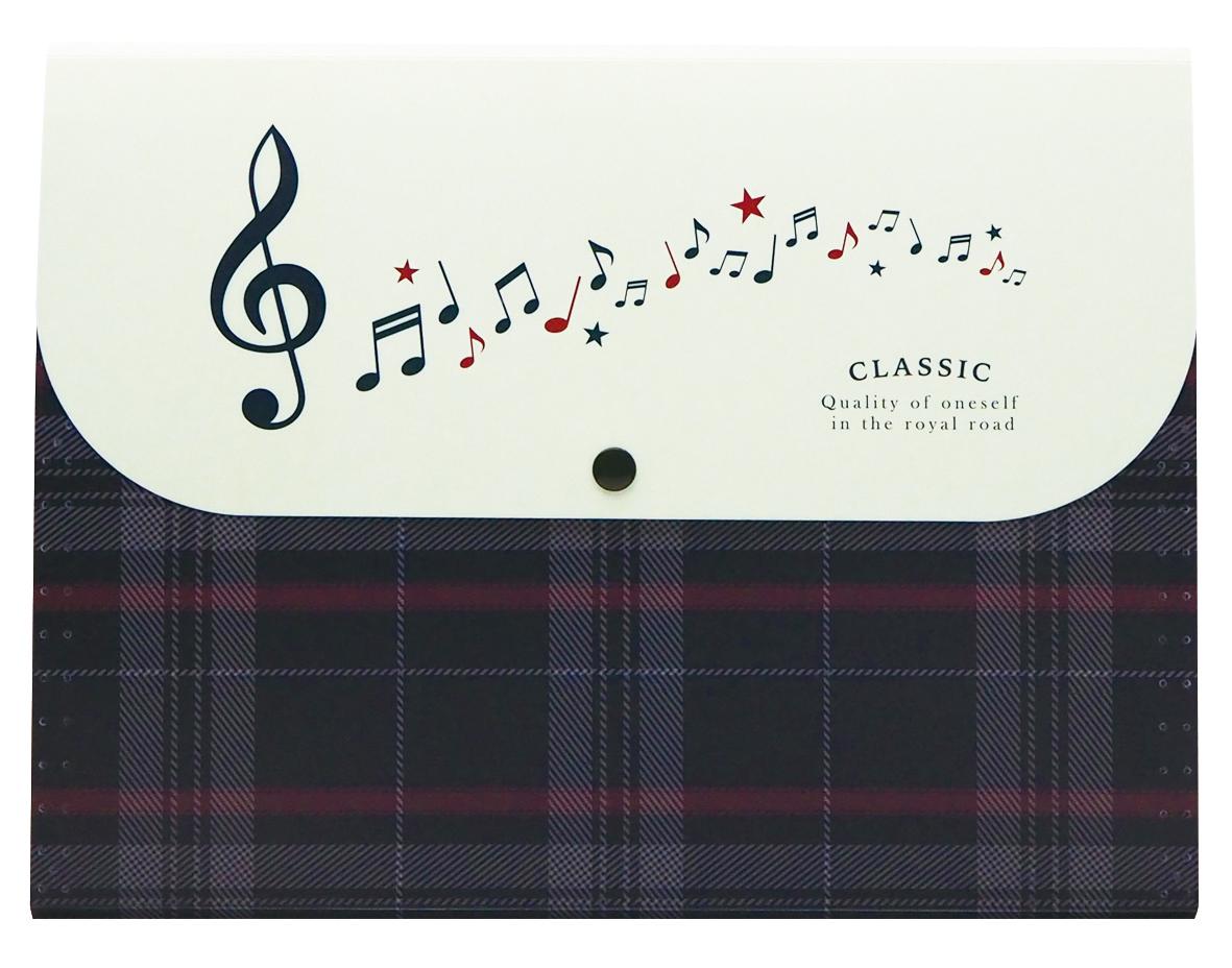 5ポケットフォルダー A4 CLASSIC  ※お取り寄せ商品 引き出物 記念品 音楽雑貨 音符 ピアノモチーフ ト音記号 ピアノ雑貨