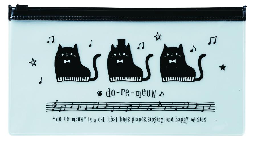 do-re-meow PVC ペンケース ※お取り寄せ商品 引き出物 記念品 音楽雑貨 音符 ピアノモチーフ ト音記号 ピアノ雑貨