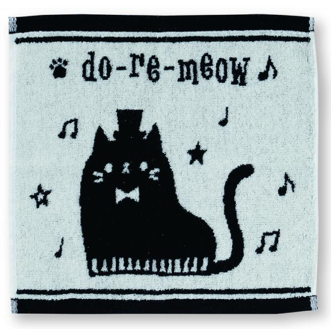do-re-meow タオルハンカチ ※お取り寄せ商品 引き出物 記念品 音楽雑貨 音符 ピアノモチーフ ト音記号 ピアノ雑貨