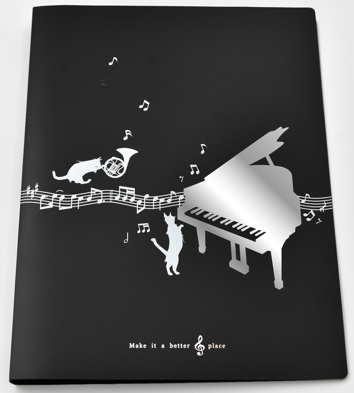 シャノワール A4リングファイル※お取り寄せ商品 引き出物 記念品 音楽雑貨 音符 ピアノモチーフ ト音記号 ピアノ雑貨