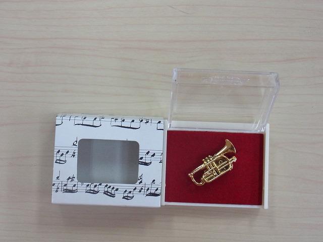 コルネット♪この商品はお取り寄せ商品です♪【記念品に最適ブローチ】吹奏楽部ブラスバンド記念品に