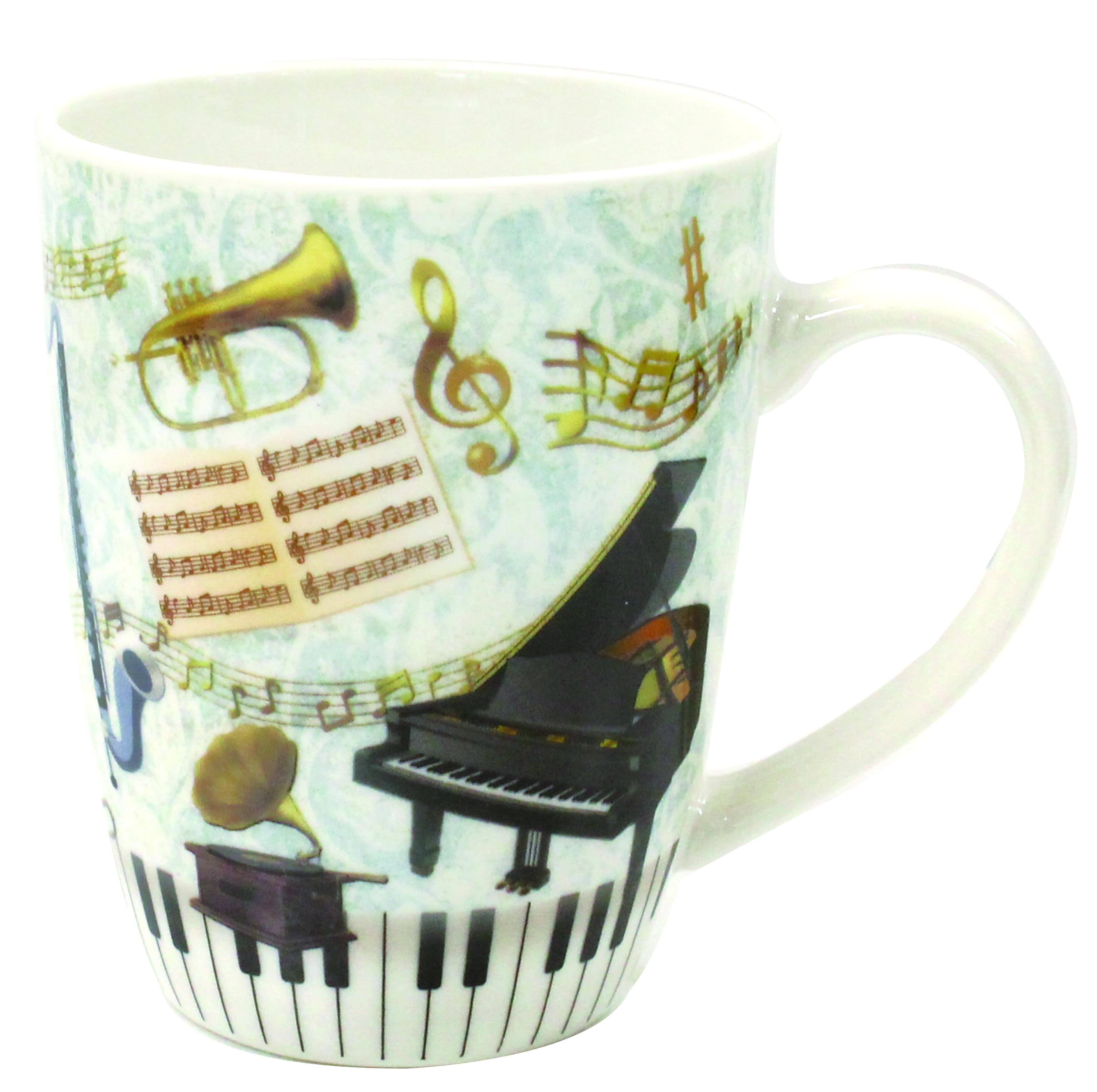 楽器マグカップ ※お取り寄せ商品 引き出物 記念品 音楽雑貨 音符 ピアノモチーフ ト音記号 ピアノ雑貨